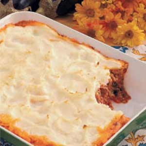 Greek Shepherd's pie. I've made this before, adding olives and spinac...