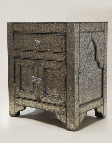 Moroccan Handmade White Metal Bedside Side Table With Drawers