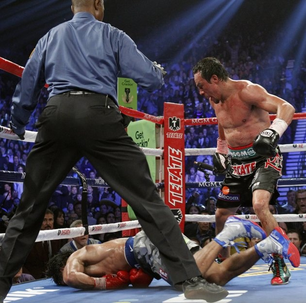 Juan manuel marquez after knocking out manny pacquiao in the 6th round