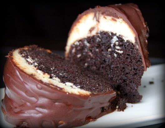 chocolate tunnel cake with ganache icing