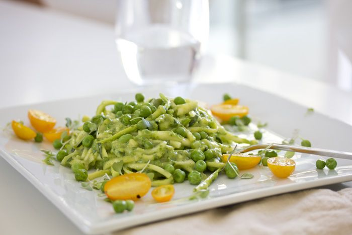 Raw Zucchini Pasta with Avocado and Pea Pesto. Great, green, totally guilt-free.