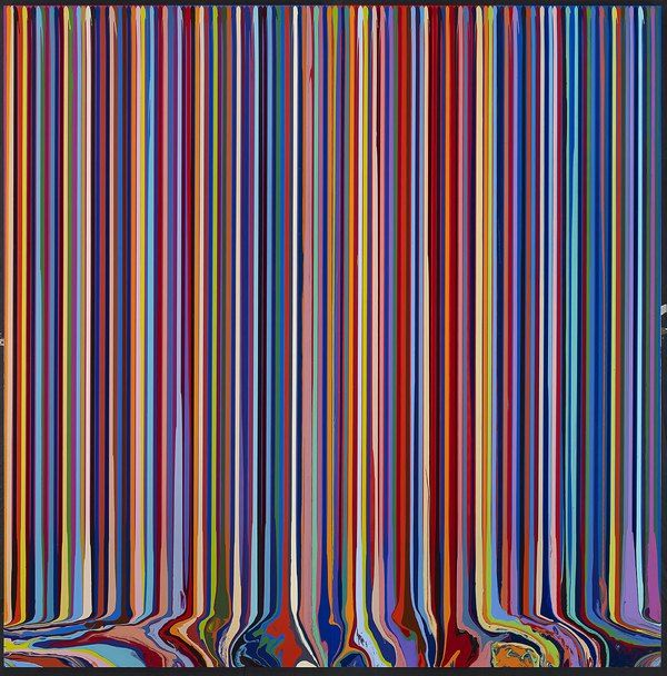 Ian Davenport: Puddle Painting: Magenta, Violet, Red, Blue, 2011. Acrylic paint on stainless steel, mounted on aluminium panel, 97 5/8 x 97 5/8 in/ 248 x 248 cm
