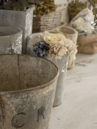 Perfectly weathered zinc buckets...