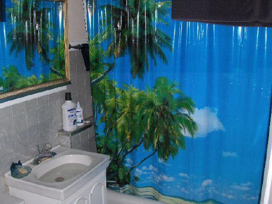 tropical+curtains | tropical island palm trees shower curtain bathroom ...
