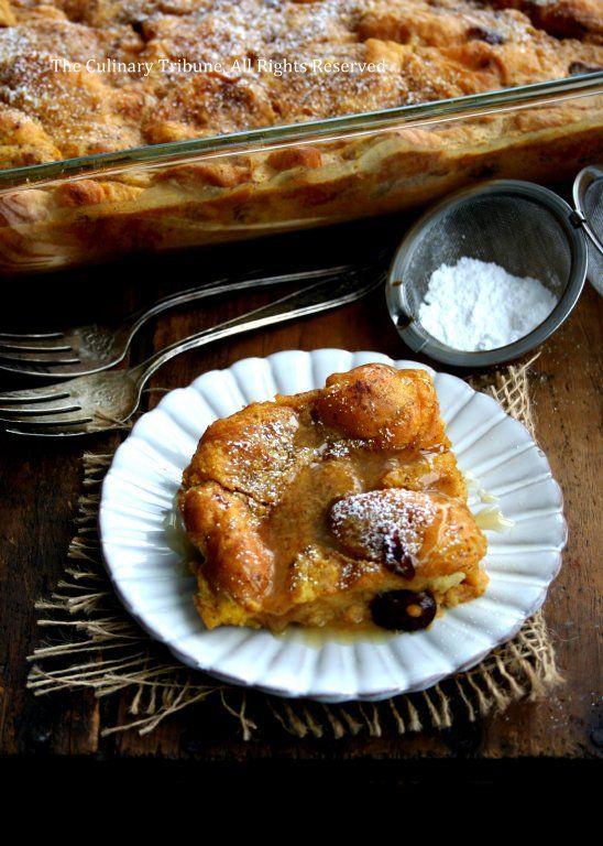 Pumpkin Bread Pudding With Bourbon Vanilla Sauce Recipe ...