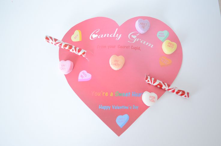 candy cards for valentine's day