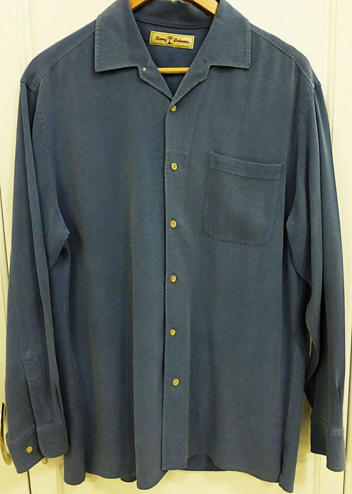 Tommy Bahama Men Long Sleeve Button Down 100 Silk Shirt L