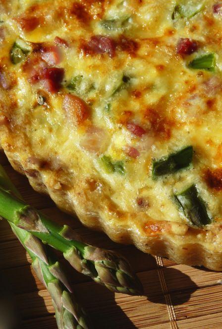 Swiss, Ham + Asparagus Quiche   Savory Recipes   Pinterest