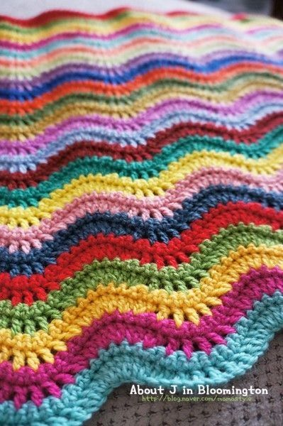 Knitting Pattern For Rippling Waves Afghan : Colorful Knitted Ripple Afghan Knit/crochet Pinterest