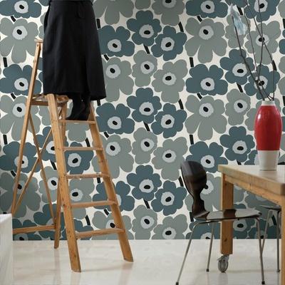 Marimekko Unikko Wallpaper in Blue and Grey by Maija Isola / Kristina Isola