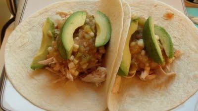 Chicken Tacos with Avocado and Tomatillo Salsa