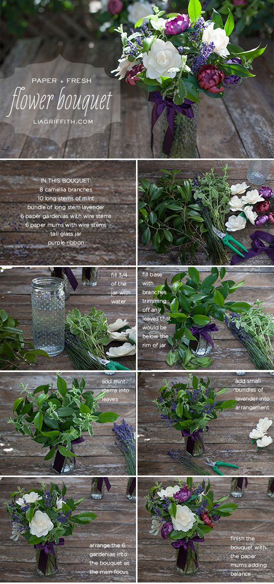 How to Mix Paper Flowers with Fresh Leaves and Lavender to Make a Gorgeous