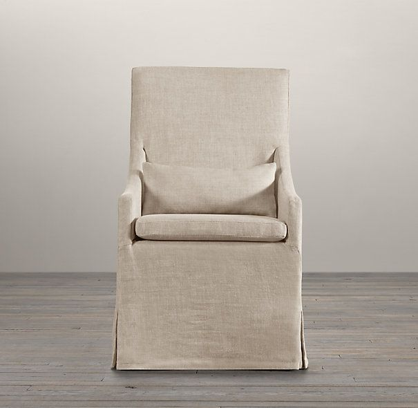 Arm dining armchair fabric arm amp side chairs restoration hardware