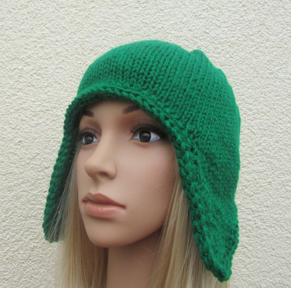 Hand Knit Ear Flap Hat in Paddy Green,  Fashion Autumn and Winter Accessories
