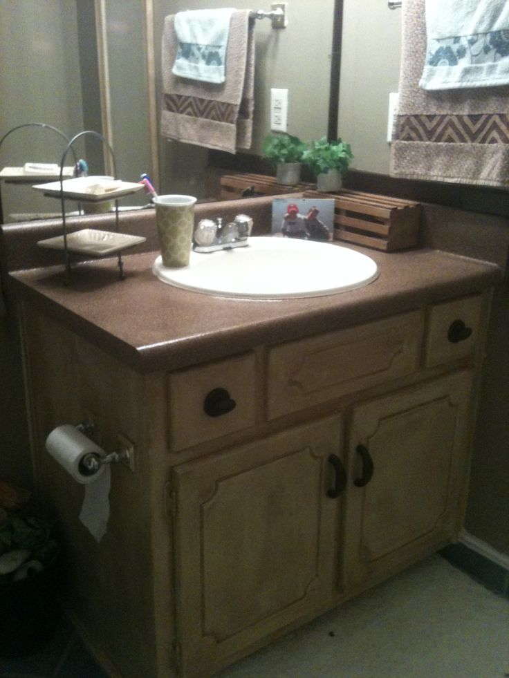 Bathroom vanity redone! It was all white. Countertop spray painted ...