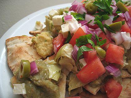 Pita-chos - Mediterranean Nachos | Macho Nachos | Pinterest