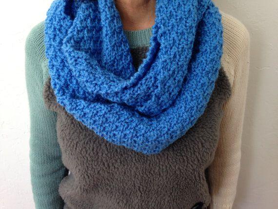 Hand Knitting Patterns For Women : Hand knit women s infinity scarf checker pattern