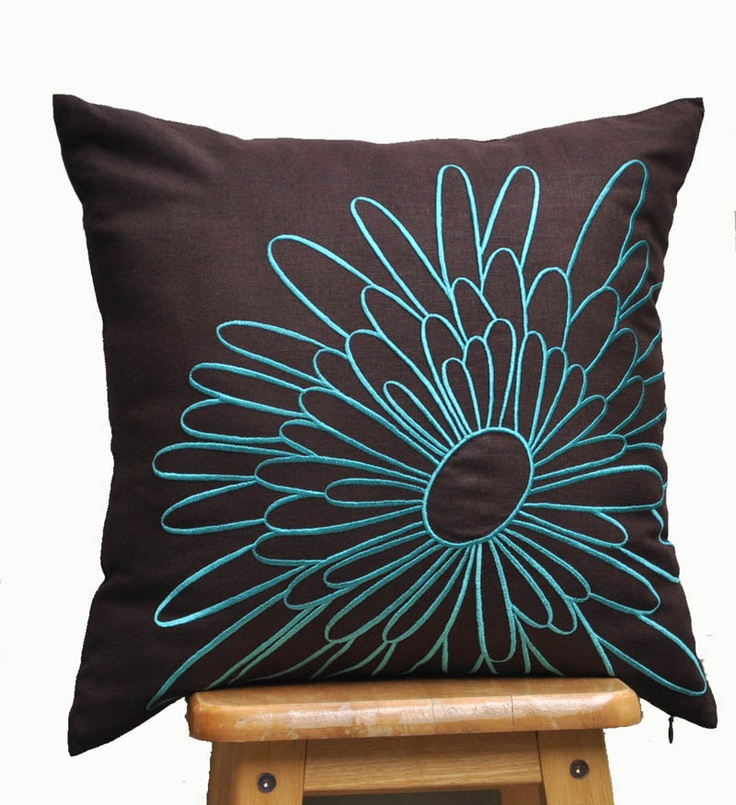 Throw Pillow Cover, Decorative Pillow Cover , Dark Brown Pillow, Teal?