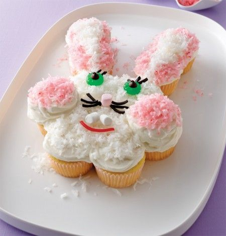 "Bunny ""cake"" made with cupcakes!"