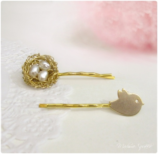 Bird & nest pins by Madame Soufflé | Sweet & Pink | Pinterest