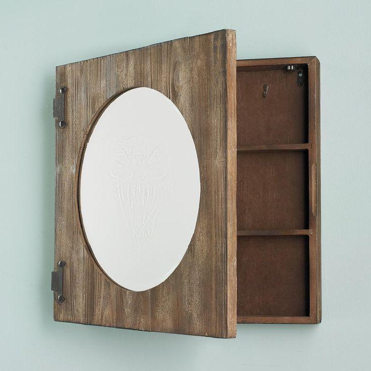 weathered wood storage shelf mirror. Black Bedroom Furniture Sets. Home Design Ideas