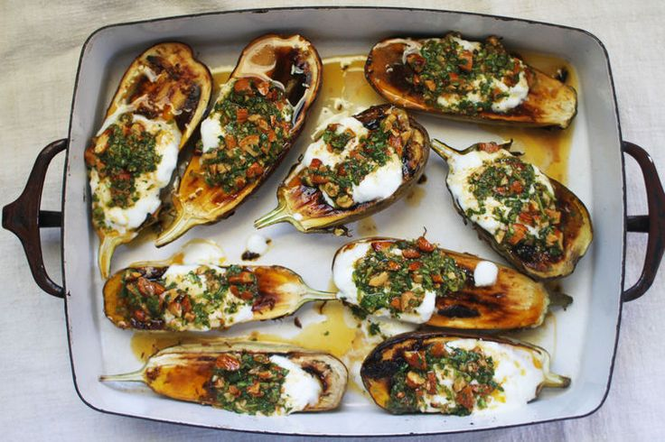 Roasted Eggplant with Cilantro-Almond Salsa | Food 52