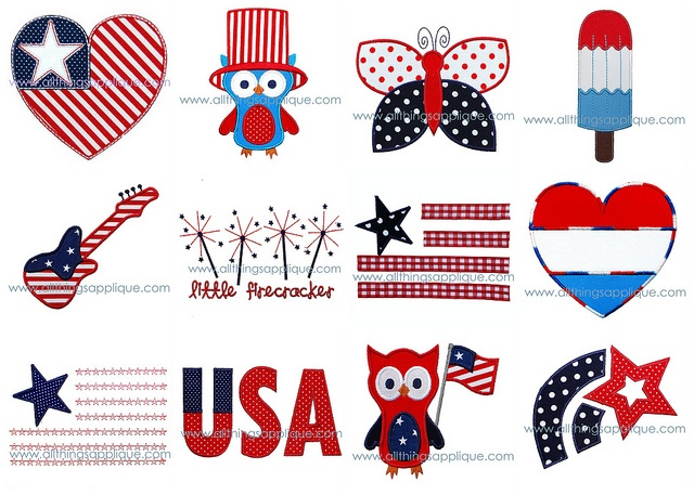 4th of july applique shirts