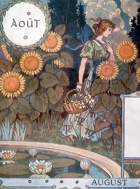 """August,  Eugène GRASSET Calendrier """"La Belle Jardinière"""" 1896"""