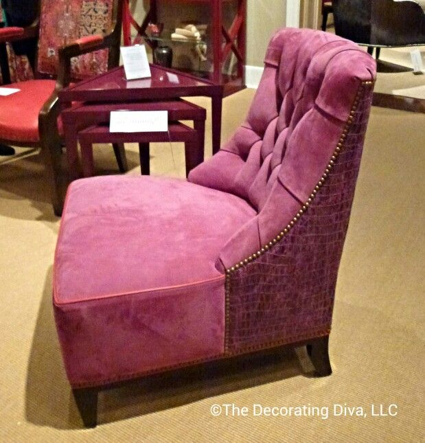 Fashionable in Purple: Purple had a strong showing at the High Point show. Purple chair from Jessica Charles #hpmkt