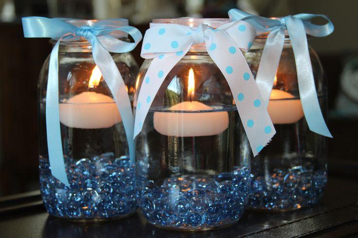 Baptism centerpieces party favors ideas for Baby boy baptism decoration ideas