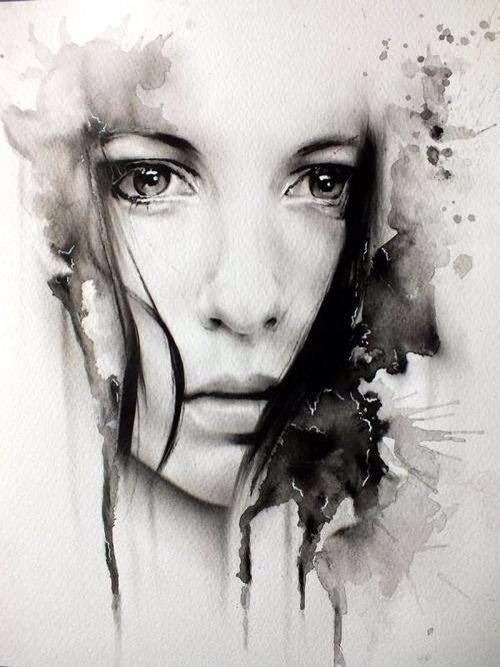 Woman Face Drawing sad eyes | Art | Pinterest