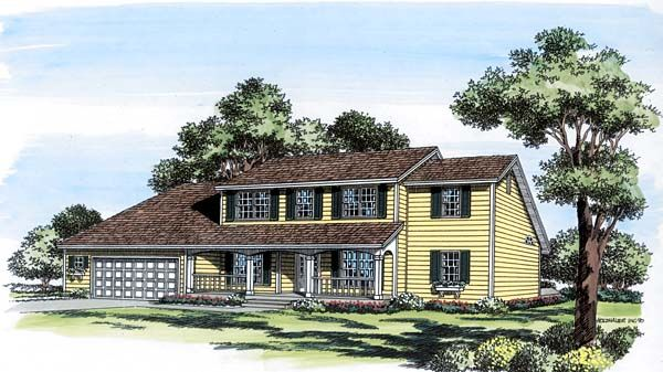 Colonial country saltbox house plan 20404 for Colonial saltbox house plans
