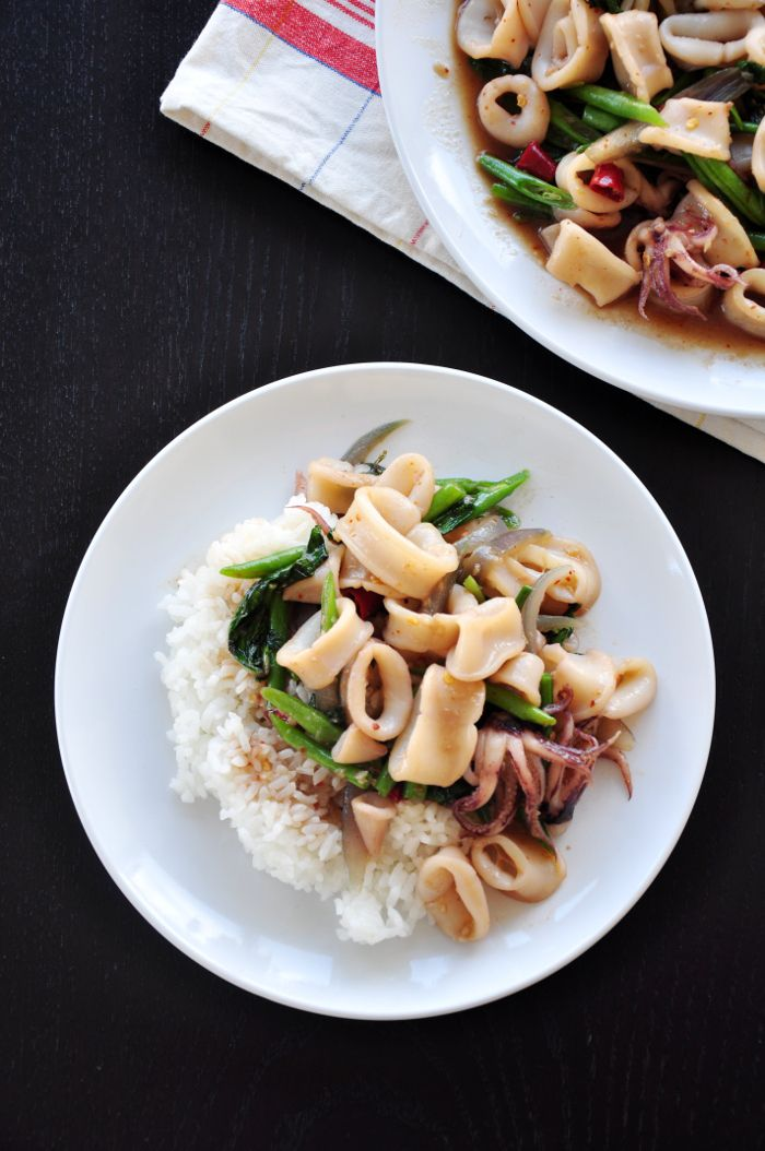 Thai Fried Squid With Basil Leaves | Food Drink | Pinterest