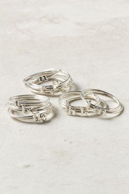 Dainty monogram rings