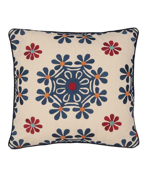Blue & Red Jasmin Throw Pillow