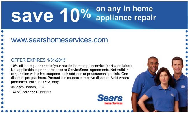 Sears coupon code 2018 for appliances