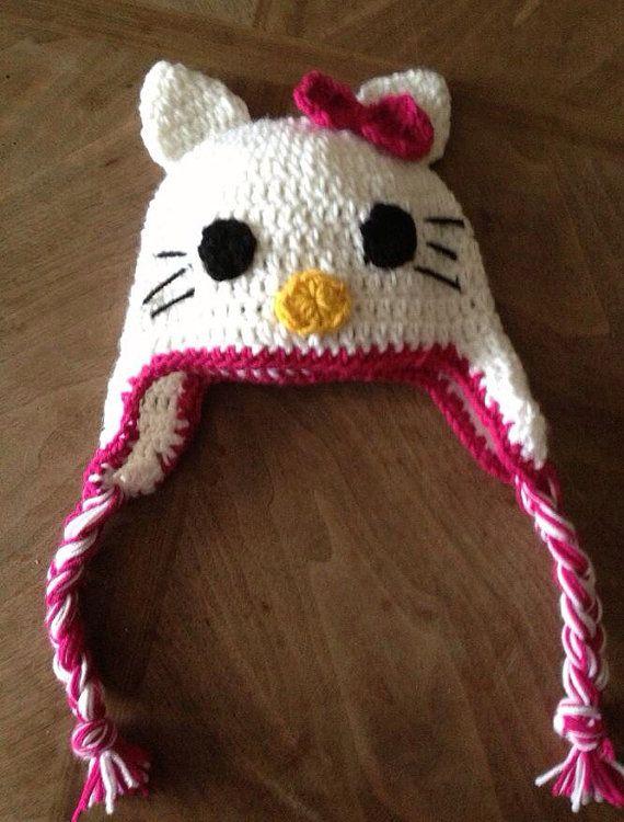 Crochet Kitty Hat : Crochet hello kitty hat on Etsy, $25.00
