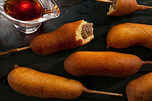 Breakfast Corn Dogs You can make these vegetarian by buying Morning ...