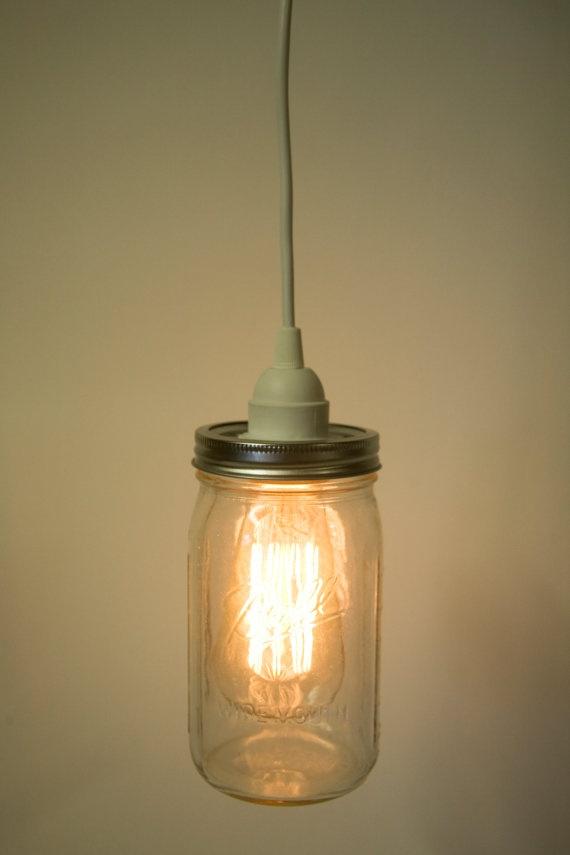 Mason Jar Direct Wire Pendant Light Kit Wide by PortmanWorkshop, $35 ...