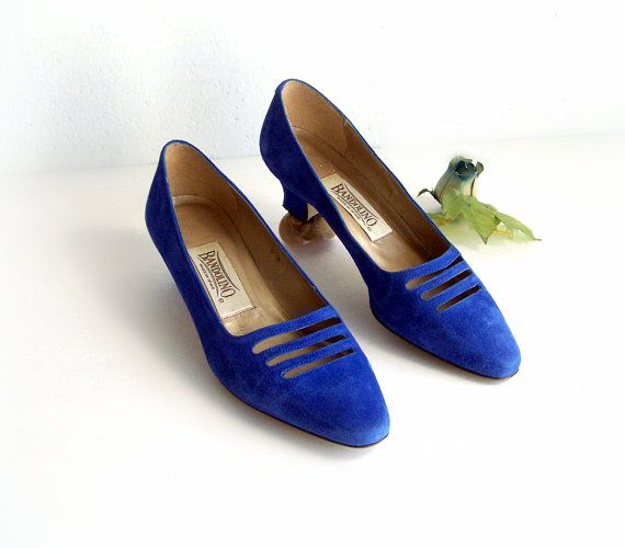 Bandolino Blue Pumps blue suede shoes Womens by TheWhitePelican, $28