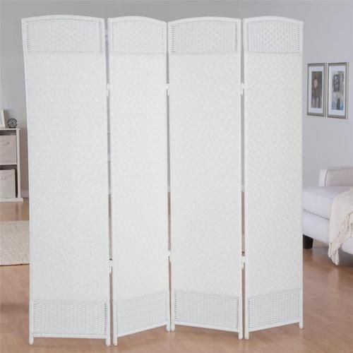Woven resin 4 panel indoor room divider outdoor privacy for Outdoor privacy screen white
