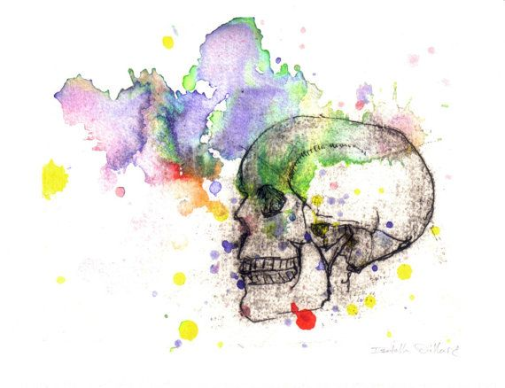 Skull in a Splash of Color Watercolor Painting Fine by idillard, $20.00