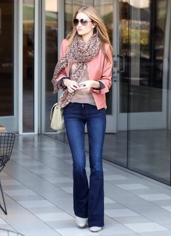 Pink Blazer with Scarf and Blue Jeans