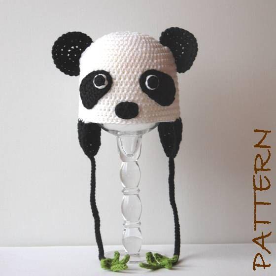 Panda Bear Earflap Hat Crochet Pattern : Crochet Animal Hat Pattern - Penelope the Panda Earflap ...