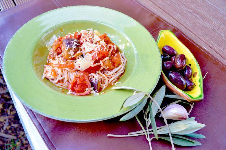 Roasted Eggplant, Tomato & Olive Spaghetti NUTRITION FACTS *per serve ...