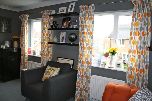 Orange Grey Living Room Lounge A Decorating Eye Candy Pinterest