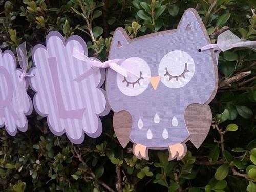 purple owl banner baby shower ideas pinterest