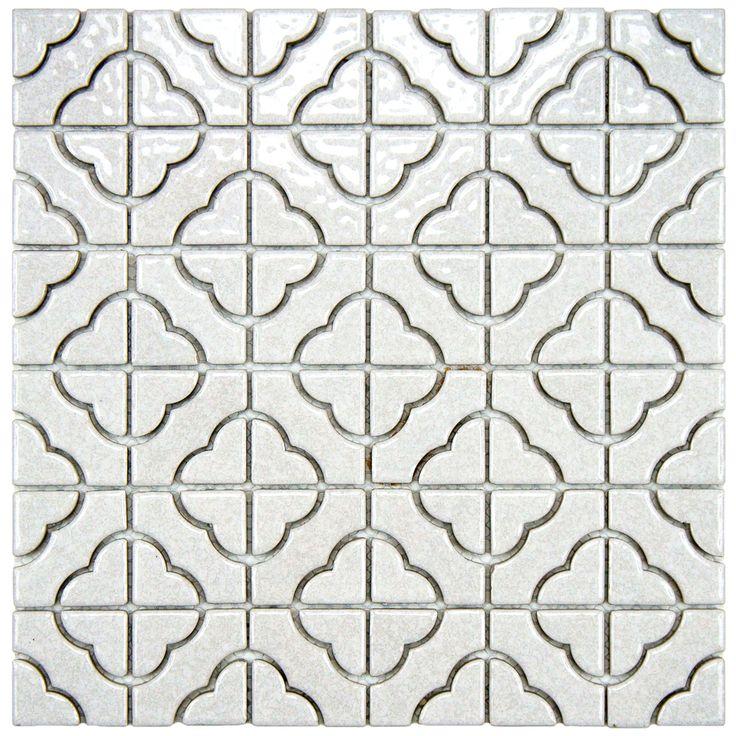 SomerTile Castle White Porcelain Mosaic Tile Pack Of 10