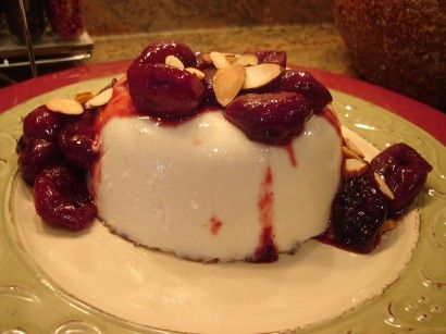 Roasted Cherries with Lavender and Almond Panna Cotta | Recipe