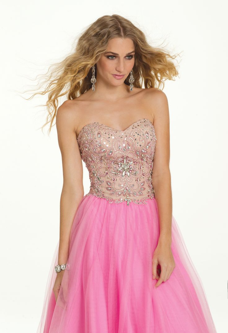 Camille La Vie Strapless Two Tone Prom Dress with Beautiful Beaded Bodice. Sparkle on!